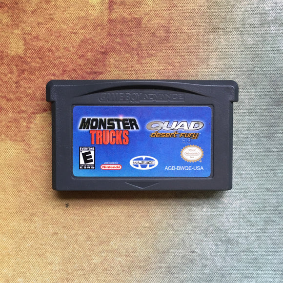 2 Games in 1: Monster Trucks & Desert Fury • Nintendo Game Boy Advance GBA