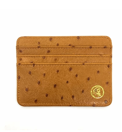 Ostrich Embossed Tan Card Holder