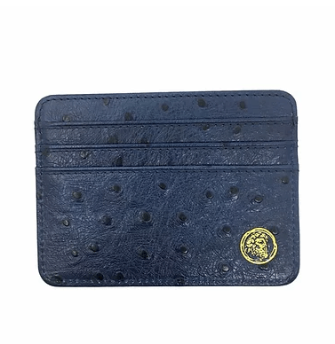 Ostrich Embossed Royal Blue Card Holder