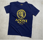 Unisex Royal Blue/Gold Fitted Crew Neck T-Shirt