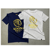 Unisex White/Gold Fitted Crew Neck T-Shirt