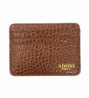 Gator Embossed Brown Card Holder