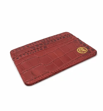 Gator Embossed Scarlet Card Holder