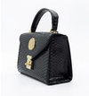 Python Embossed Black Nano Handbag