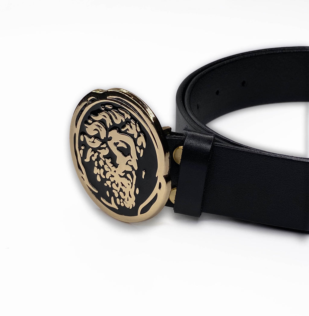 Gold/Black Leather Belt