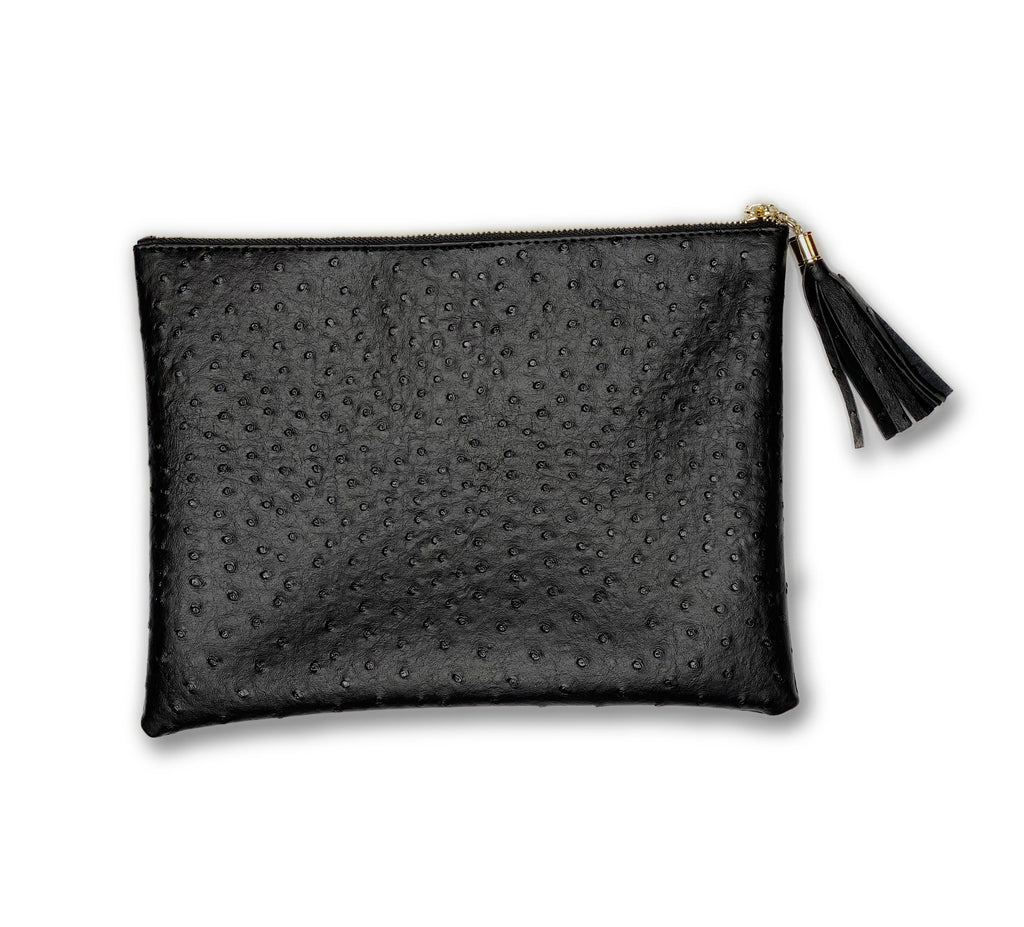 Ostrich Embossed Black Clutch
