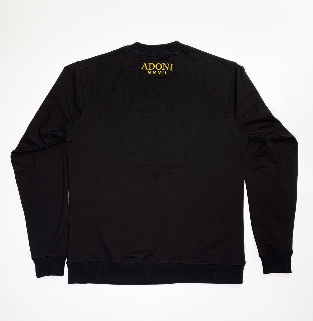 Black Embroidered Crew Neck Sweat Shirt