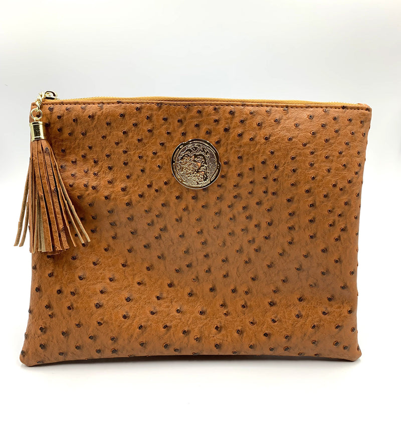 Ostrich Embossed Clutch