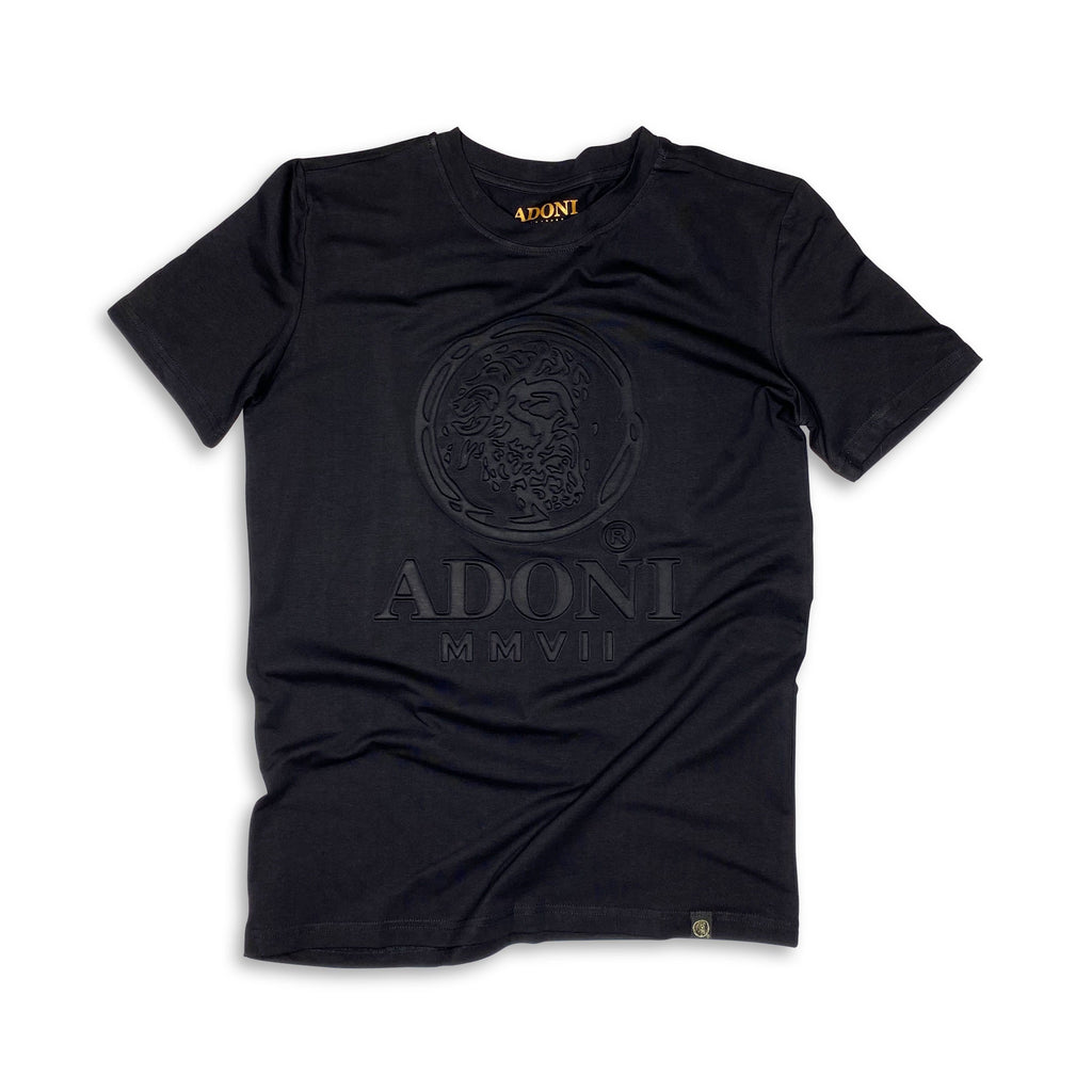 Embossed Black Unisex Crew Neck T-Shirt