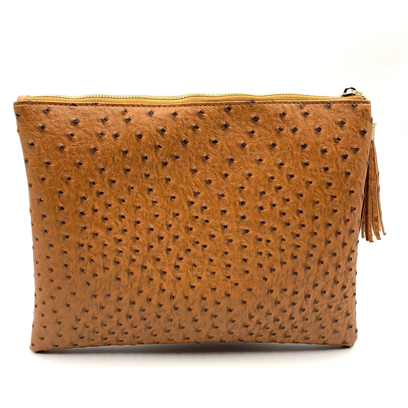 Ostrich Embossed Brown Clutch