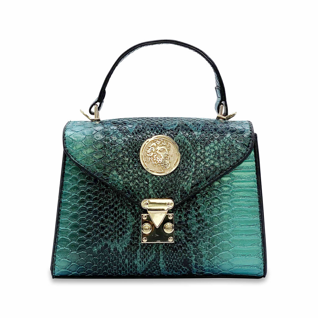 Python Embossed Green Nano Handbag