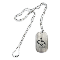 New! Engraved Stainless Steel Dog Tag w/ Ball Chain Necklace