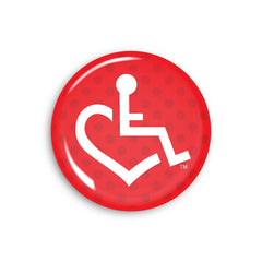 Red Polka Dot Wheelchair Heart Button