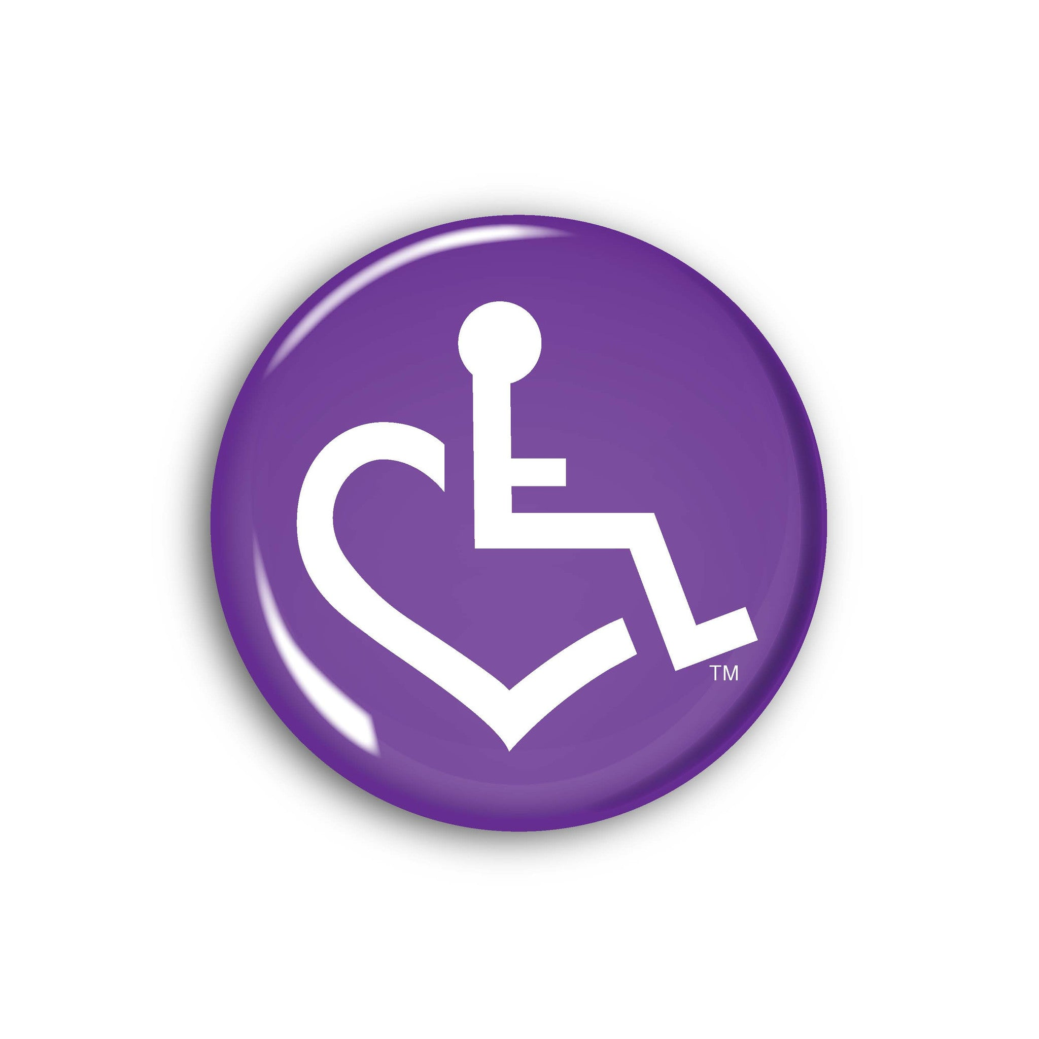 Purple wheelchair heart button by buttons 3e loves wheelchair heart purple wheelchair heart button buycottarizona