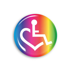 Rainbow Stripe Wheelchair Heart Button