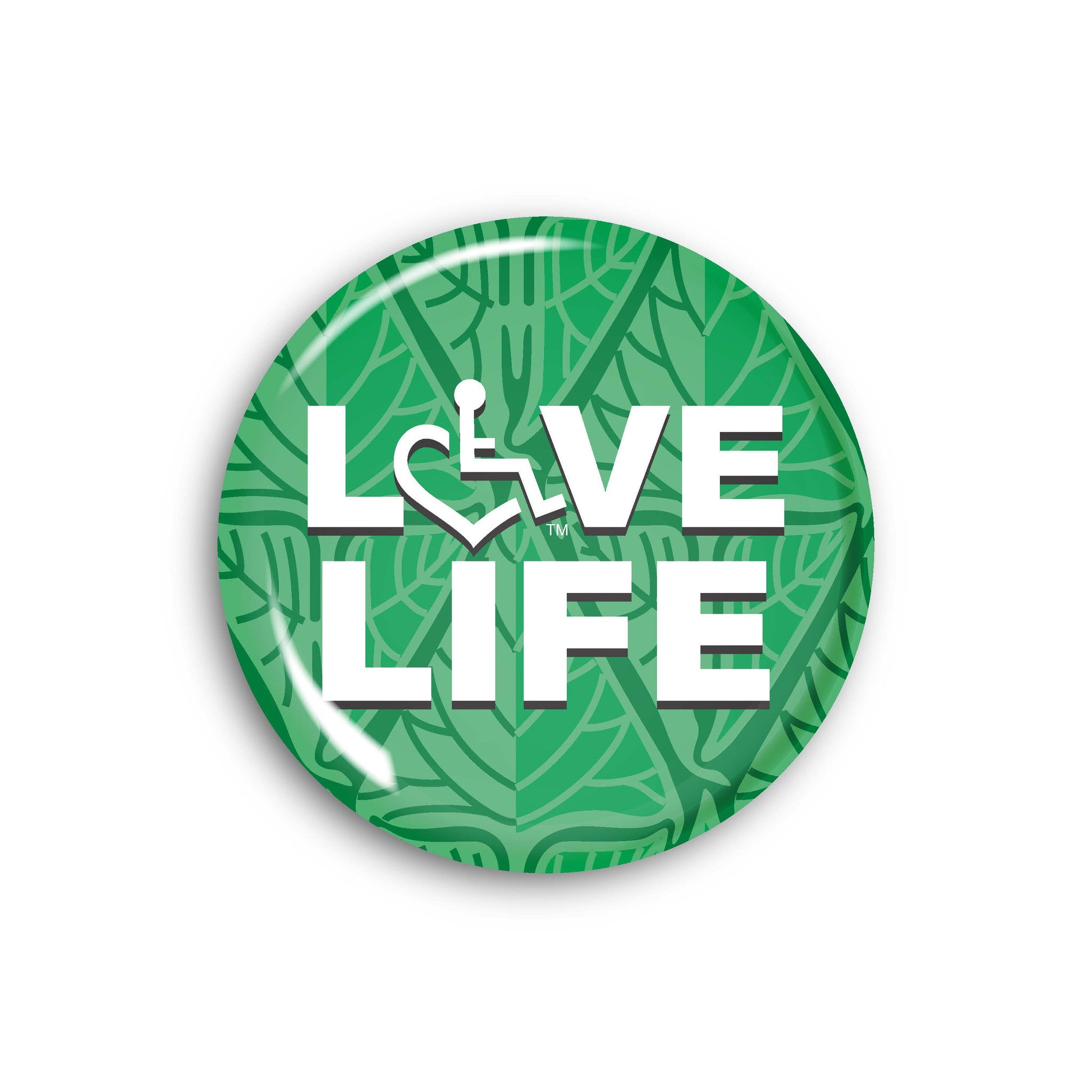LOVE Life on Leaf Pattern Button