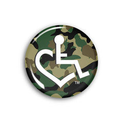 Wheelchair Heart on Camouflage Button