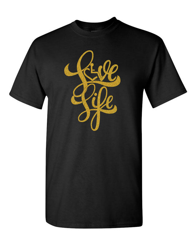Love Life Script Tee - Black w/ Gold Shimmer Ink!