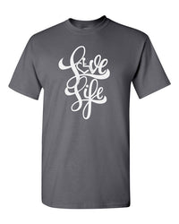 Love Life Script Tee - Charcoal