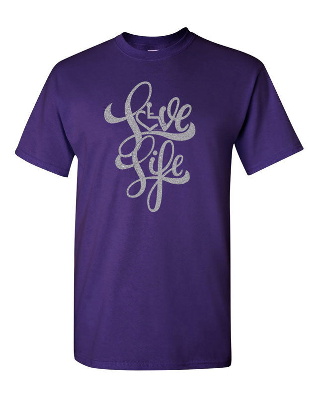 Love Life Script Tee - Purple w/ Silver Shimmer Ink!