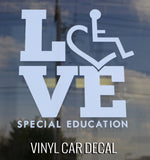 Love Special Education Car Decal