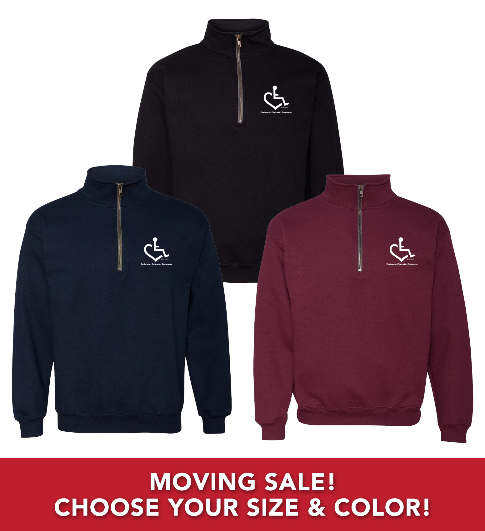 Moving Sale - Original Heart Quarter Zip Sweatshirts