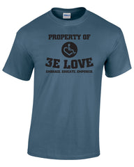 Property of 3E Love Vintage T-Shirt - Heather Indigo