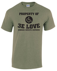 Property of 3E Love Vintage T-Shirt - Heather Military Green