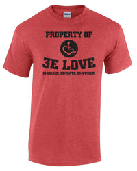 Property of 3E Love Vintage T-Shirt - Heather Red