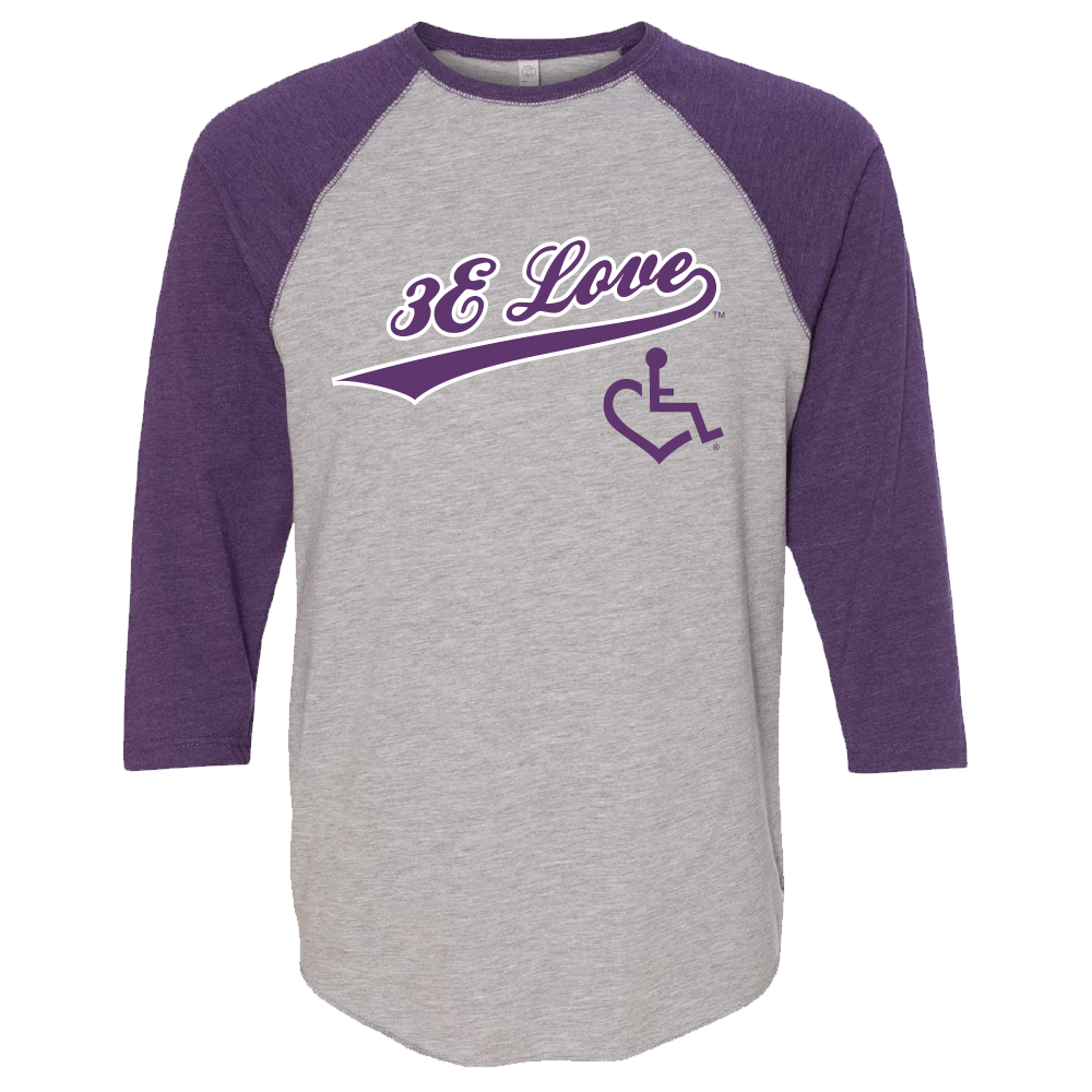 Team 3E Love Baseball Tee - Purple