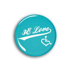 Team 3E Love Button - White on Teal