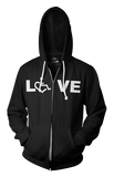 LOVE Hooded Zip-Up - Black