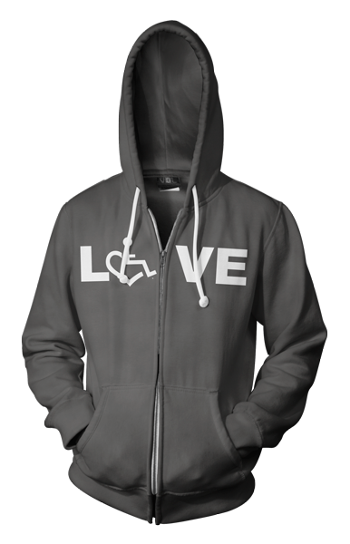 LOVE Hooded Zip-Up - Asphalt