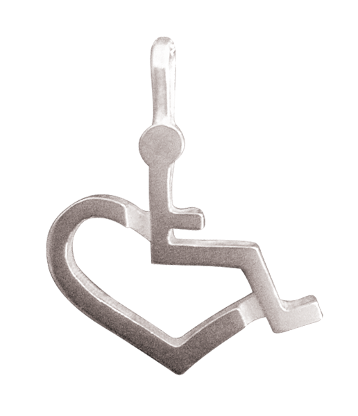 Sterling Silver Wheelchair Heart Charm for Bracelet