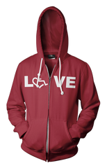 LOVE Hooded Zip-Up - Cranberry