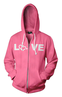 LOVE Hooded Zip-Up - Deep Pink