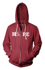 HOPE Hooded Zip-Up - Cranberry