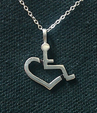 Sterling Silver Wheelchair Heart Necklace - Large