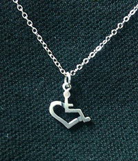 Sterling Silver Wheelchair Heart Necklace - Small