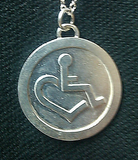 Sterling Silver Wheelchair Heart Coin Pendant