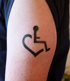 Large Wheelchair Heart Temporary Tattoos