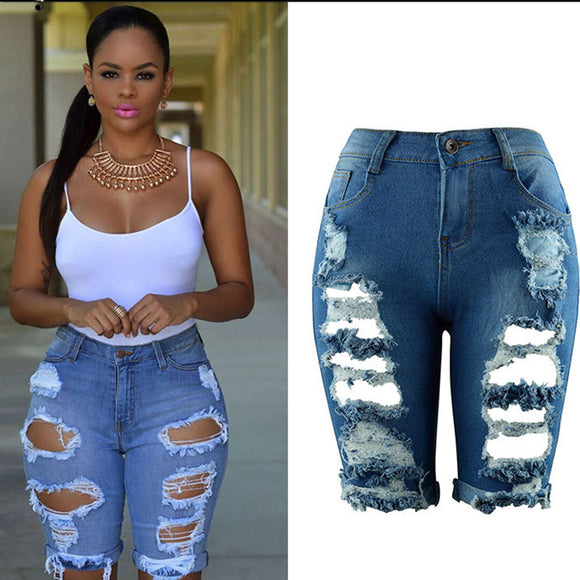 Jean Shorts Women Plus Size High Waist Casual Hole Skinny Ripped