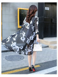 Sun Protection Women Long Blouses Super Thin Floral Chiffon