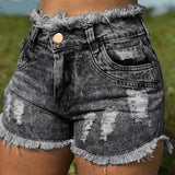 Shorts Cowboy High Waists Tassel Hole Fur-lined Leg-openings Plus Size