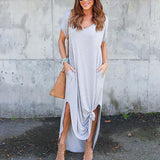 Plus Size 5XL Sexy Casual Short Sleeve Maxi Dress.