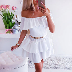 Sexy Women A-Line Dress Off Shoulder