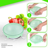 6 Pcs/Set Reusable Silicone Lids Food  Spill Lids For Food