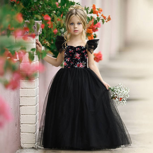 Girls Dresses Black Flower