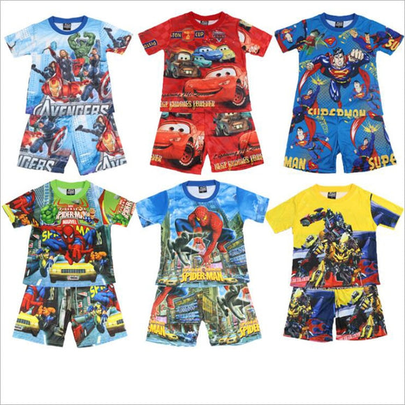 Boy New Pajamas Short Sleeved Set Cartoon Spiderman Children's