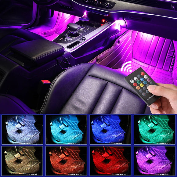 LED Car Foot Light With USB Wireless Remote Music Control Multiple Modes Automotive Interior Decorative Lights